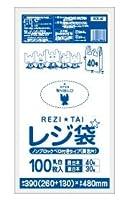 レジ袋ノンブロックベロ付きタイプ40号 260/390x480x0.013厚 乳白 薄手 RCK-40bara 100枚 HDPE素材