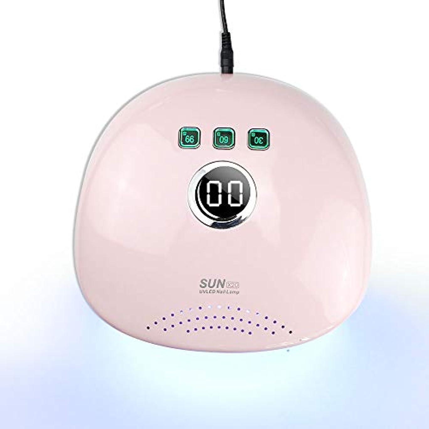楕円形デモンストレーション電極マニキュアLcdディスプレイUv Led 48 wランプ用器具紫外線治療ジェルポーランドランプネイルライトドライヤー機器,ピンク