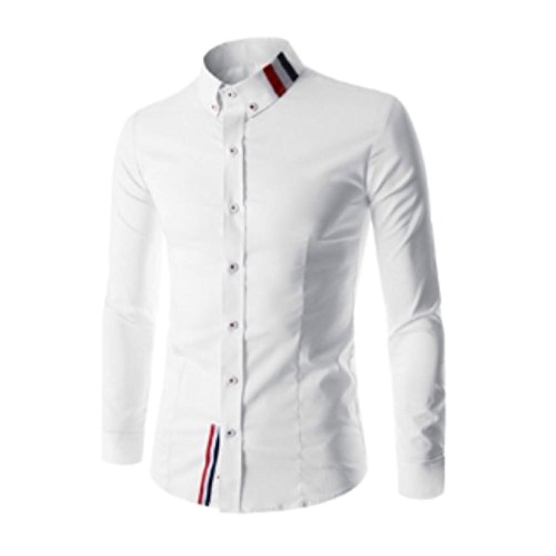 クルーズ飾るコークスHonghu メンズ シャツ 長袖  ステッチ無地 スリム ホワイト 3XL 1PC