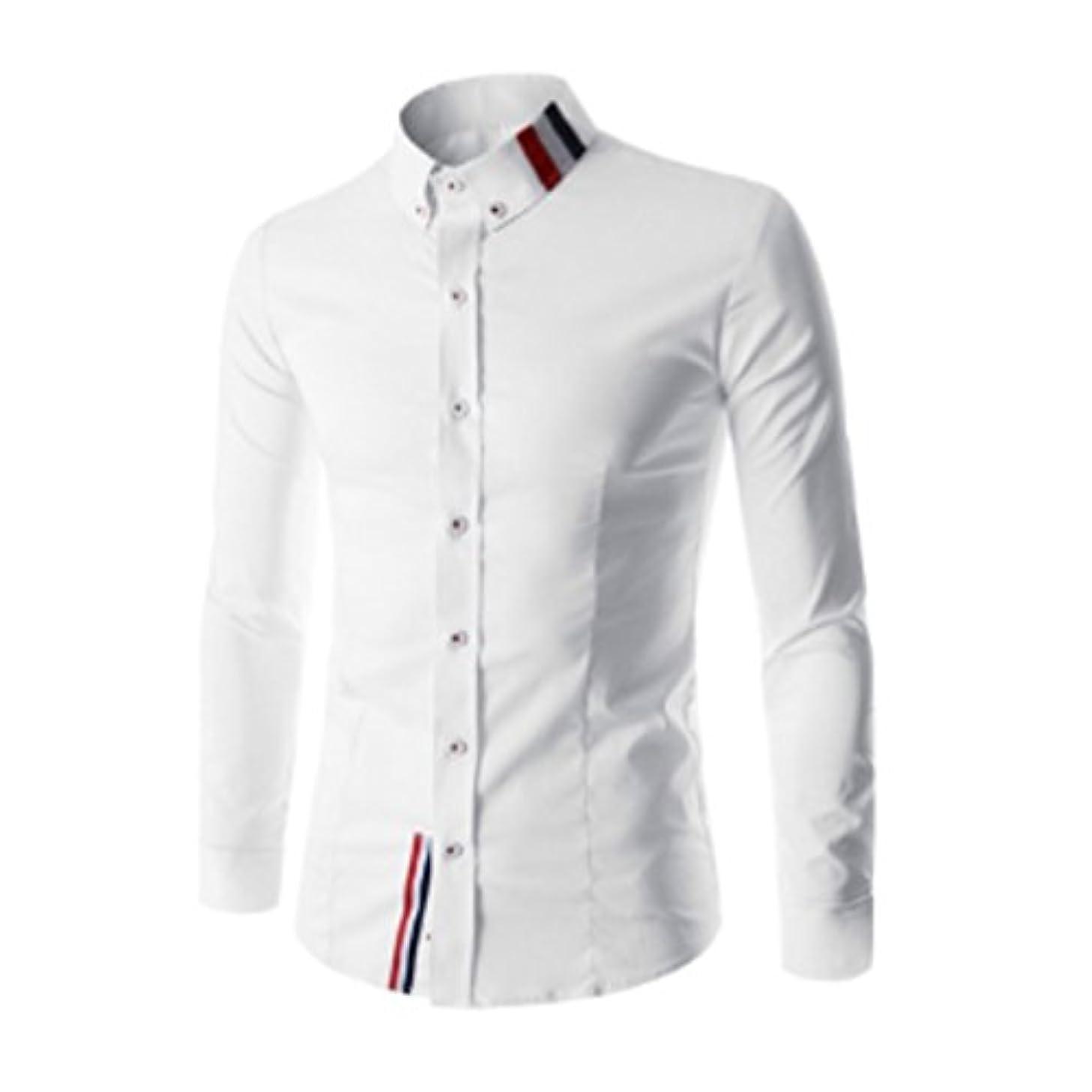 りんごニンニク証明するHonghu メンズ シャツ 長袖  ステッチ無地 スリム ホワイト L 1PC