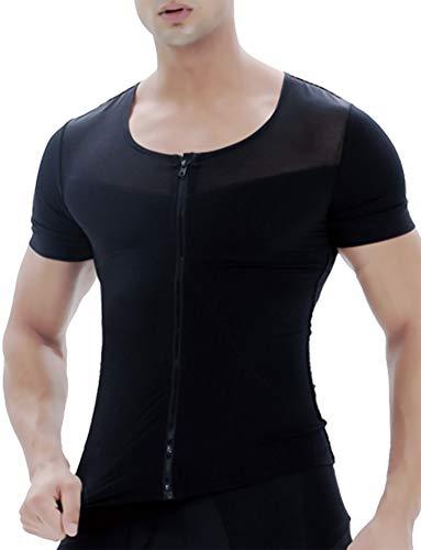 (バオサジョン) BAOSASION 加圧 インナー メンズ 前開き 三分袖 Uネック シャツ コンプレッションウェア (L, ブラック)