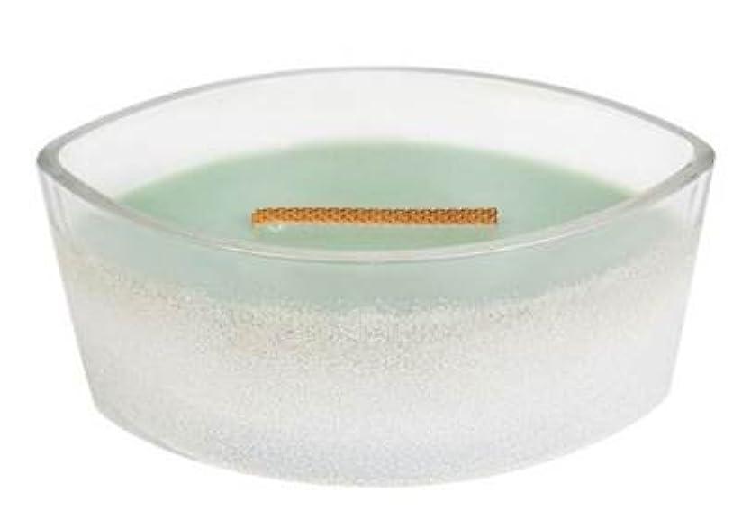 疼痛糞つまらないホワイトWillow Moss – Sanded楕円HearthWick Flame Scented Candle by WoodWick