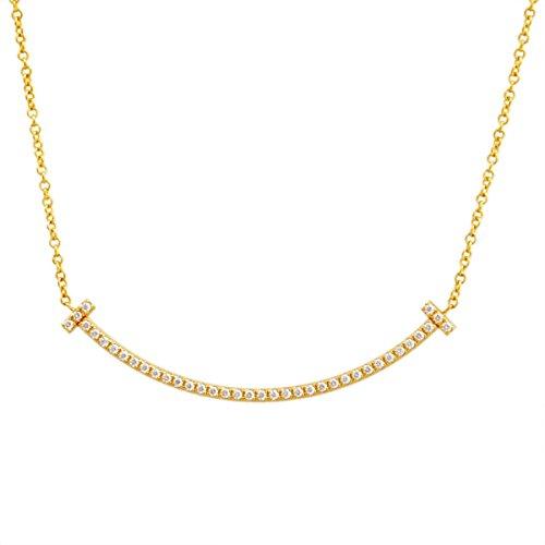 [ティファニー] TIFFANY ダイアモンド 0.01ct×18KYG イエローゴールド Tiffany T スマイル ミニ ペンダント ネックレス 41~46cm 【並行輸入品】 34684456