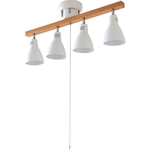 アイリスオーヤマ シーリングライト 4灯 スポットライト 角度調節 天井照明 リビング照明 レトロ ストレートタイプ ホワイト PCL-SW401-W