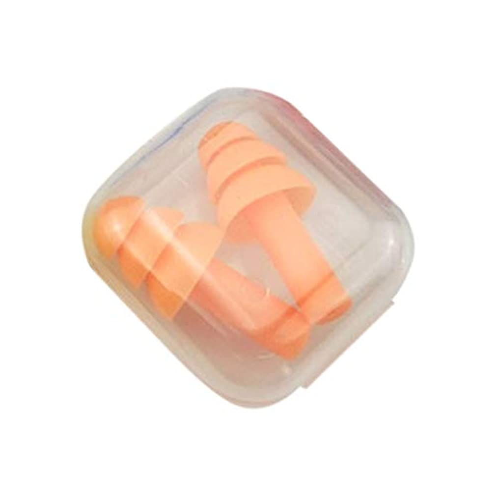 薄いです刈る物思いにふける柔らかいシリコーンの耳栓遮音用耳の保護用の耳栓防音睡眠ボックス付き収納ボックス - オレンジ