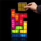 組み合わせは自由! お子様の 頭脳 教育 にも効果があります テトリス のブロックを組み合わせる LED ライト ランプ 電源 は USB も コンセント も使用可能 Tetris Light Lamp
