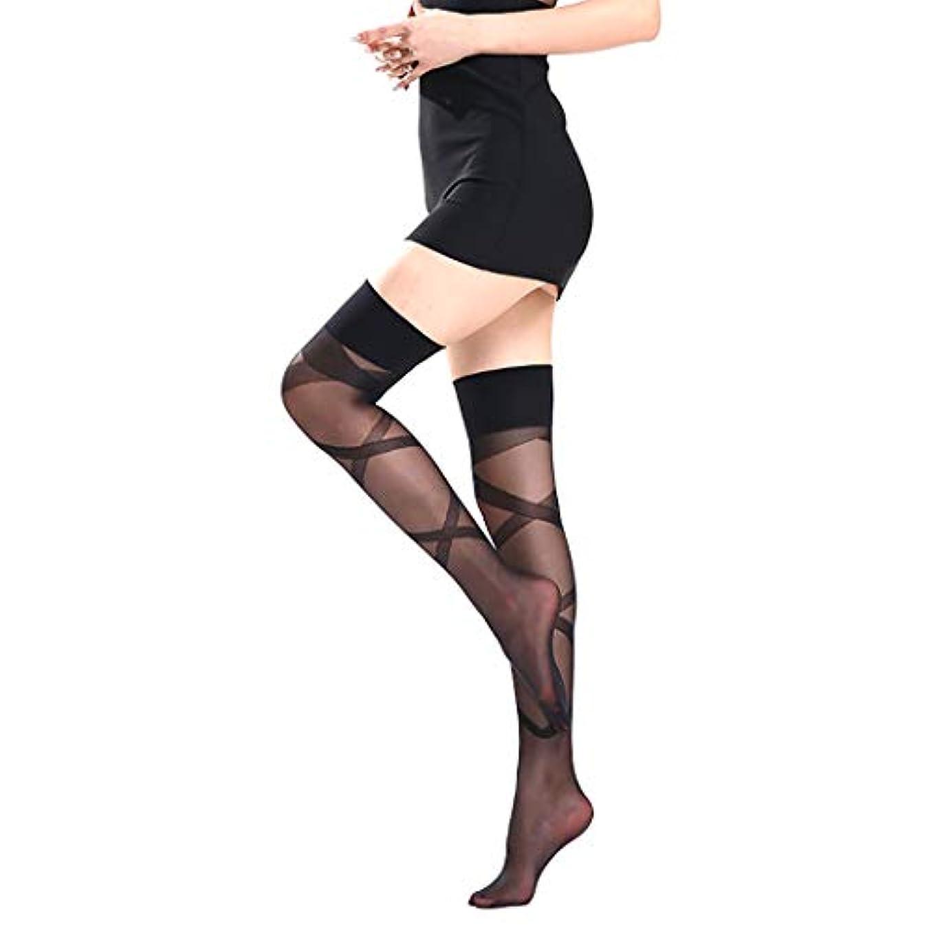 休戦広範囲大使女性のストッキング、セクシーな絹のようなストッキングの腿の高いソックス、薄いレースのトップ補強つま先のストッキング、シリコーンのストッキング,黒,3 Pair