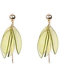 Green Gold Tone Resin Petal Drop Statement Earrings