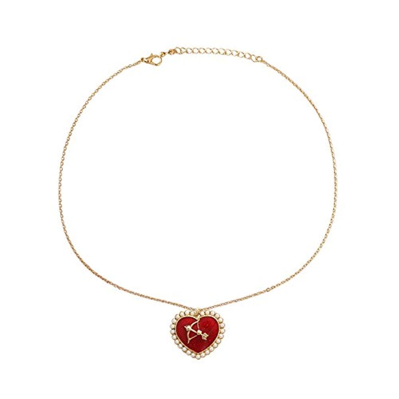 ラメアナログまつげ真珠キューピットネックレス 首のネックレス ハートのネックレス バレンタインデーのプレゼント