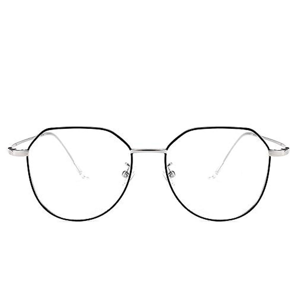 Mocici 不規則な 金属眼鏡 フレーム アンチ ブルー レイ コンピュータ ゲームメガネ 男と女 レンズ 男と女 老眼鏡