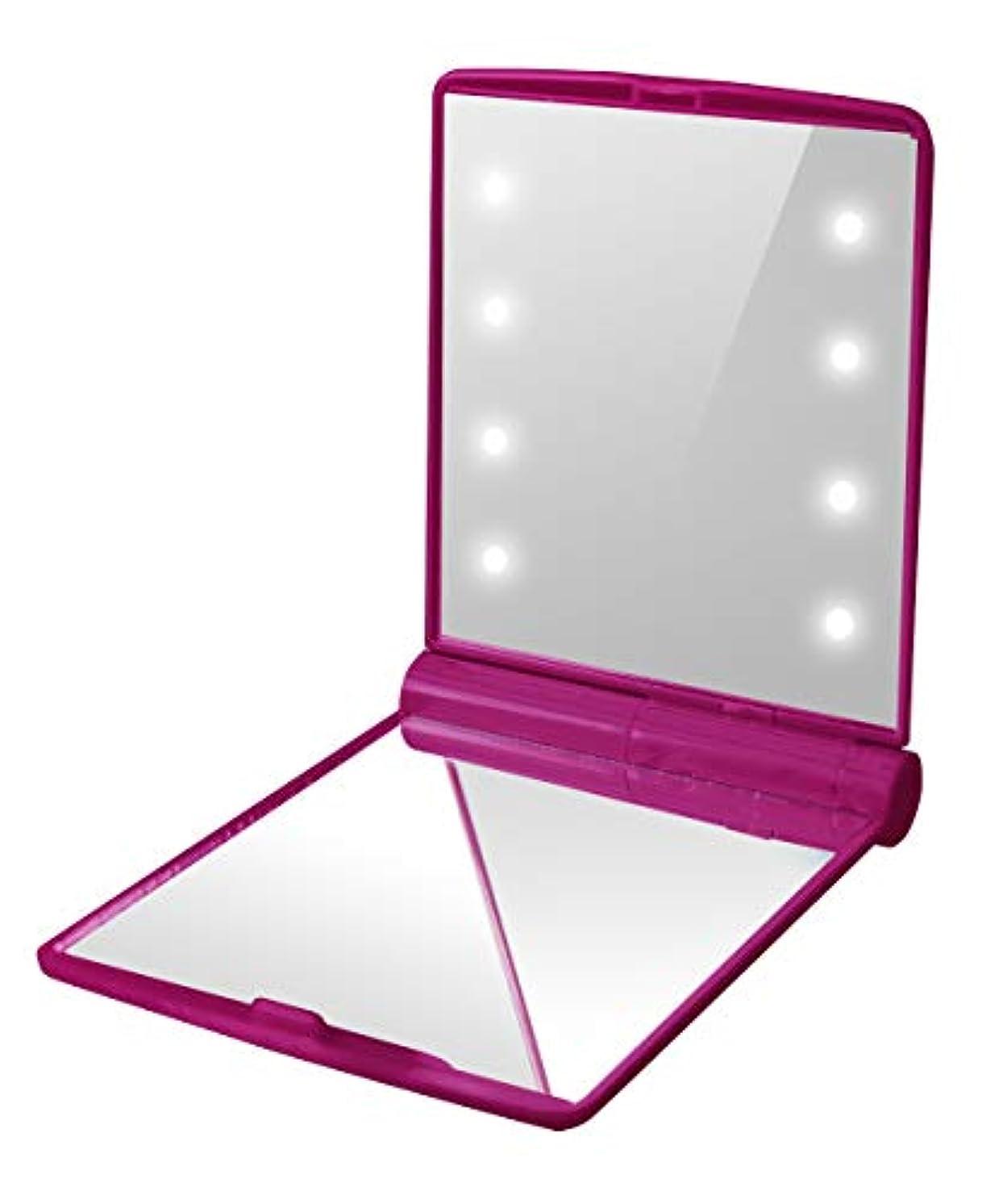 軽食剃る否認する化粧鏡 LED コンパクトミラー 折りたたみ 手鏡 鏡 携帯ミラー (ピンク)