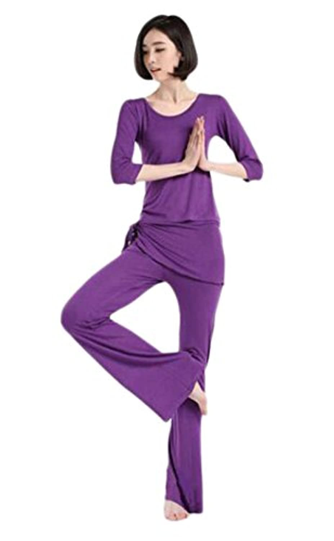 (チェリーレッド) CherryRed レディース ヨガウェア フィットネス タンクトップ 速乾吸汗 フィットネスブラ 三点セット L Purple