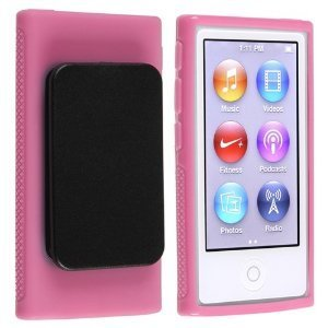 2点セット Apple iPod nano 7 デザイン カバー ケース TPU Clip Design Case (ベルトクリップ付き) アイポッドナノ 2012年 第7世代 iPod nano 7th 対応 + 液晶保護フィルム1枚【Pink(ピンク)】