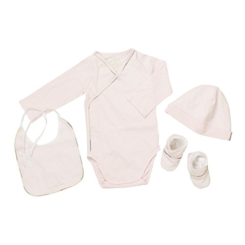 (バーバリーベビー) BURBERRY BABY ベビー服 出産祝い 4点セット (長袖ロンパース&帽子&靴下&スタイ) B98577PK 3Mサイズ [並行輸入品]