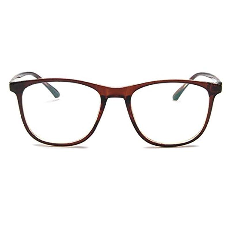 アクチュエータ透明に嵐の韓国の学生のプレーンメガネ男性と女性のファッションメガネフレーム近視メガネフレームファッショナブルなシンプルなメガネ-ダークブラウン