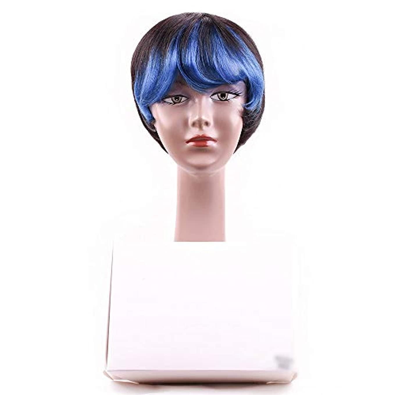 フラフープ電話する脱臼するYOUQIU 斜め前髪完全な頭部コスプレパーティーウィッグかつらと女性の人間の毛髪のショートボブウィッグ (色 : 青)