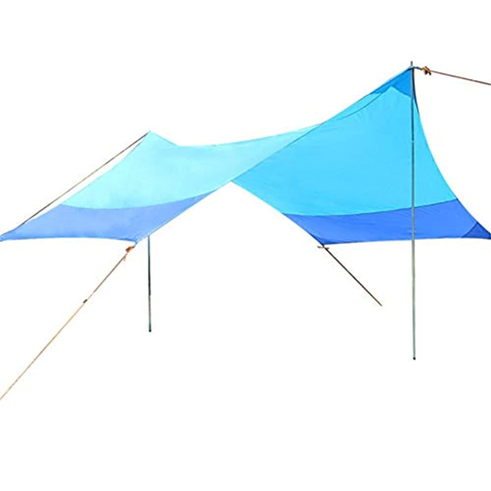 インシュレータ場所親密な防水タープ タープテント 13.8x11.5フィート防水タープシェルターサンシェードハンモックレインフライテントステークスポールロープサバイバルギアキットキャンプ用バックパッキング釣りビーチ テント タープ サンシェルター (色 : 青, サイズ : Free size)