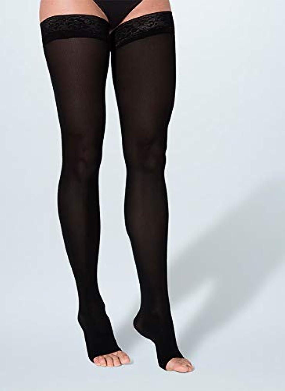 おとこ広告する犠牲Sigvaris Soft Opaque 843NLSO99 30-40 mmHg Womens Open Toe Thigh, Black, Large-Short by Sigvaris