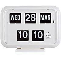 TWEMCO トゥエンコ デジタルカレンダークロック パタパタ時計 置き・掛け兼用qd-35WH