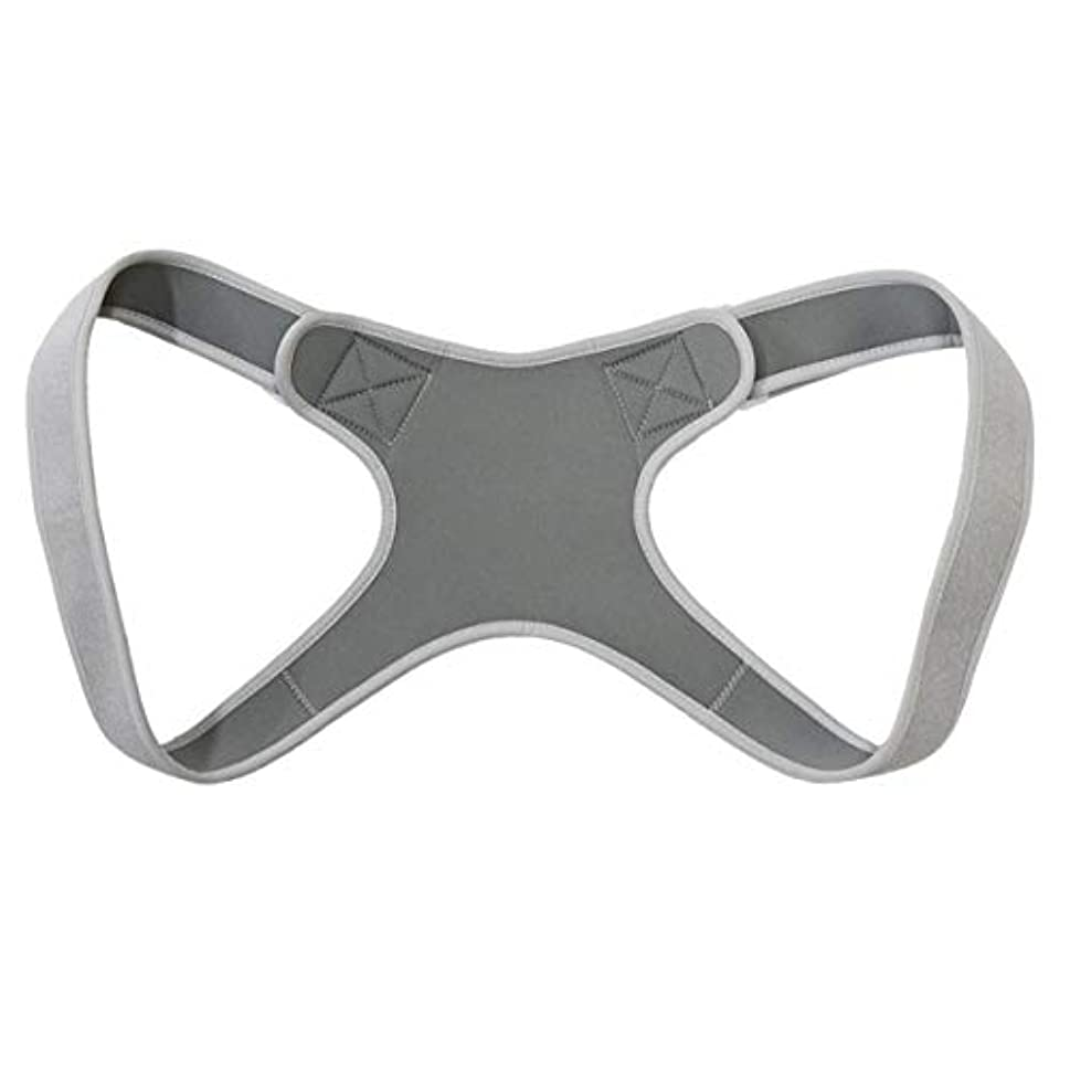 あまりにもマージンパフ新しいアッパーバックポスチャーコレクター姿勢鎖骨サポートコレクターバックストレートショルダーブレースストラップコレクター - グレー