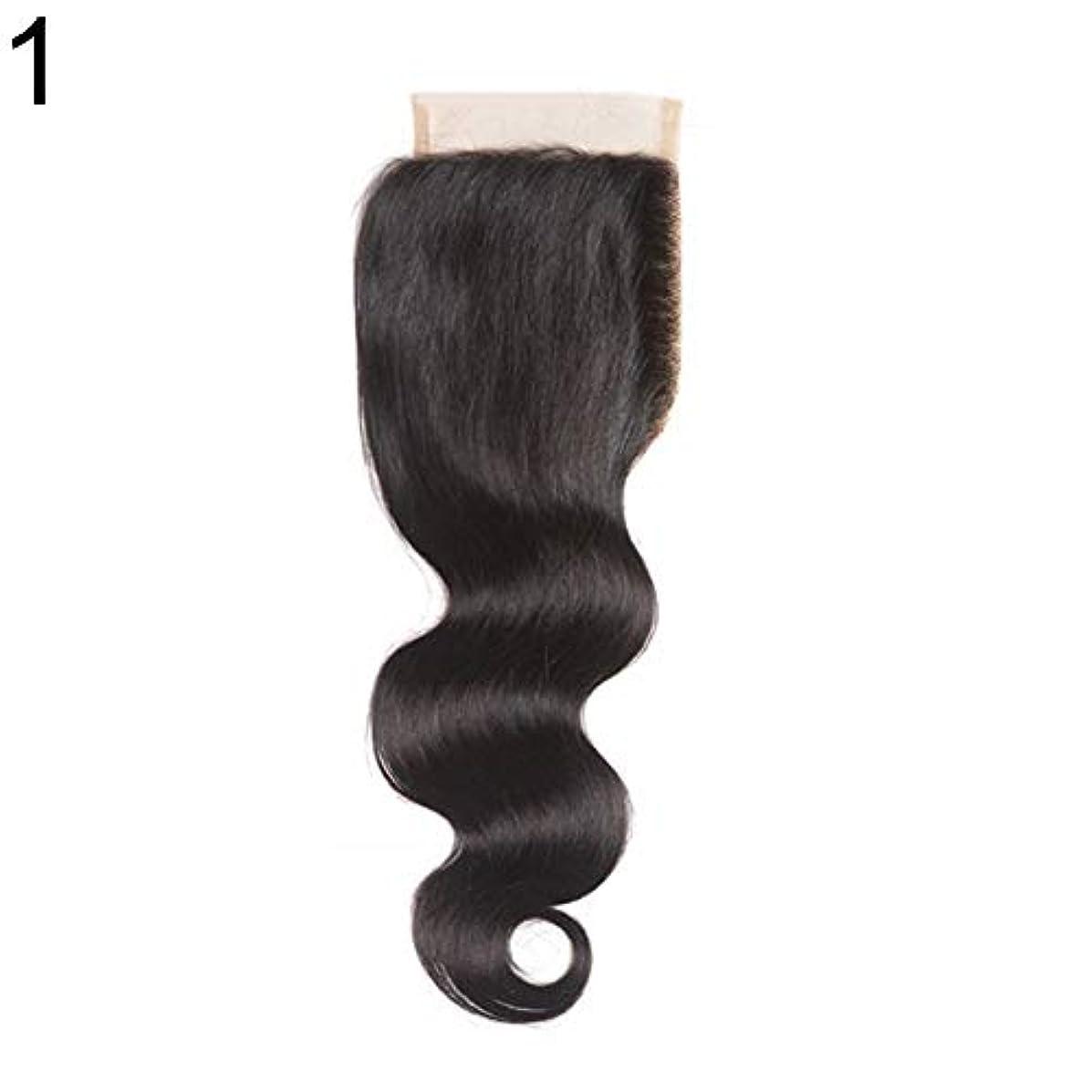 文句を言う分泌する誘惑するslQinjiansav女性ウィッグ修理ツールブラジルのミドル/フリー/3部人間の髪のレース閉鎖ウィッグ黒ヘアピース