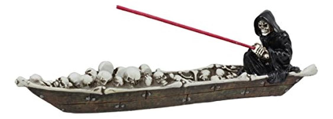 全体に一人で典型的な死神Charonのスケルトンのスカルのボート釣りSoulsメンズStyx川で香炉置物
