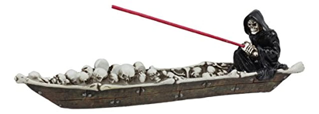 金属決めます異常な死神Charonのスケルトンのスカルのボート釣りSoulsメンズStyx川で香炉置物