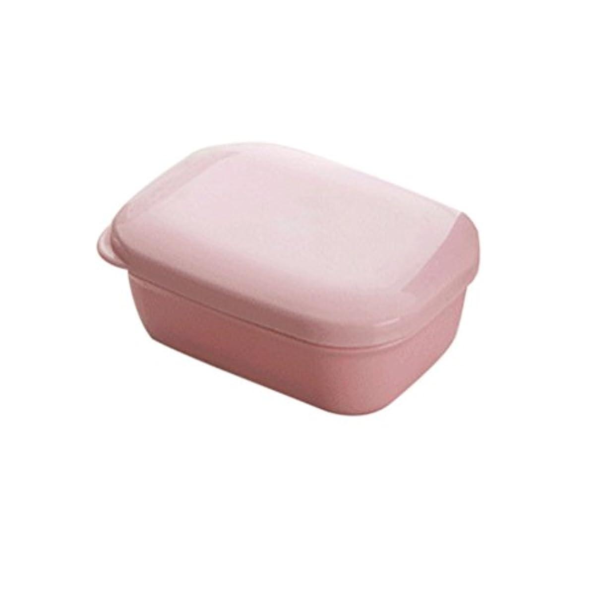 プリーツ西部回転させるBESTOMZ 石鹸ケース 石鹸置き ソープディッシュ 旅行用 携帯 ふた付け(ピンク)