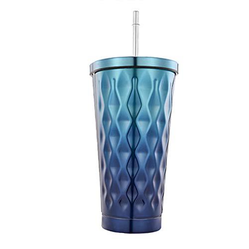 真空断熱 ストロー タンブラー ふた付き おしゃれ ステンレス 携帯 コーヒー カップ 500ml (あお)
