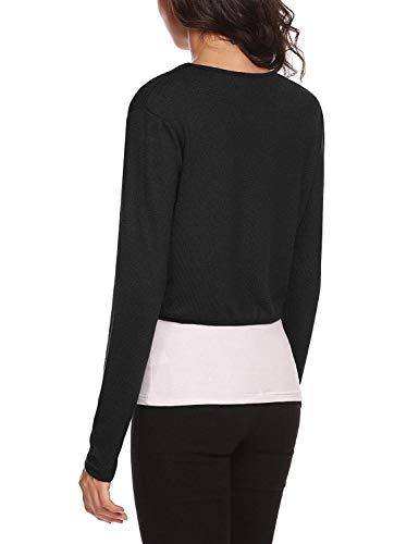 Palazen Women Long Sleeve Bolero Shrug Knit Cropped Cardigan Open Front Thin Jacket, S-XXL - Black - X-Large