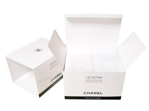 CHANEL(シャネル)LE COTON ロゴ入りオーガニックコットン 100枚入 オリジナルショップバッグ&リボン ※この商品はラッピングできませんのでご了承ください。 [並行輸入品]