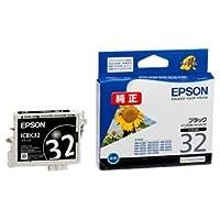 (まとめ) エプソン EPSON インクカートリッジ ブラック ICBK32 1個 【×4セット】 〈簡易梱包