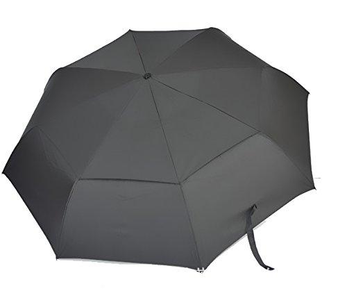 ワンタッチ折りたたみ傘 キングサイズ メンズ (ブラック)