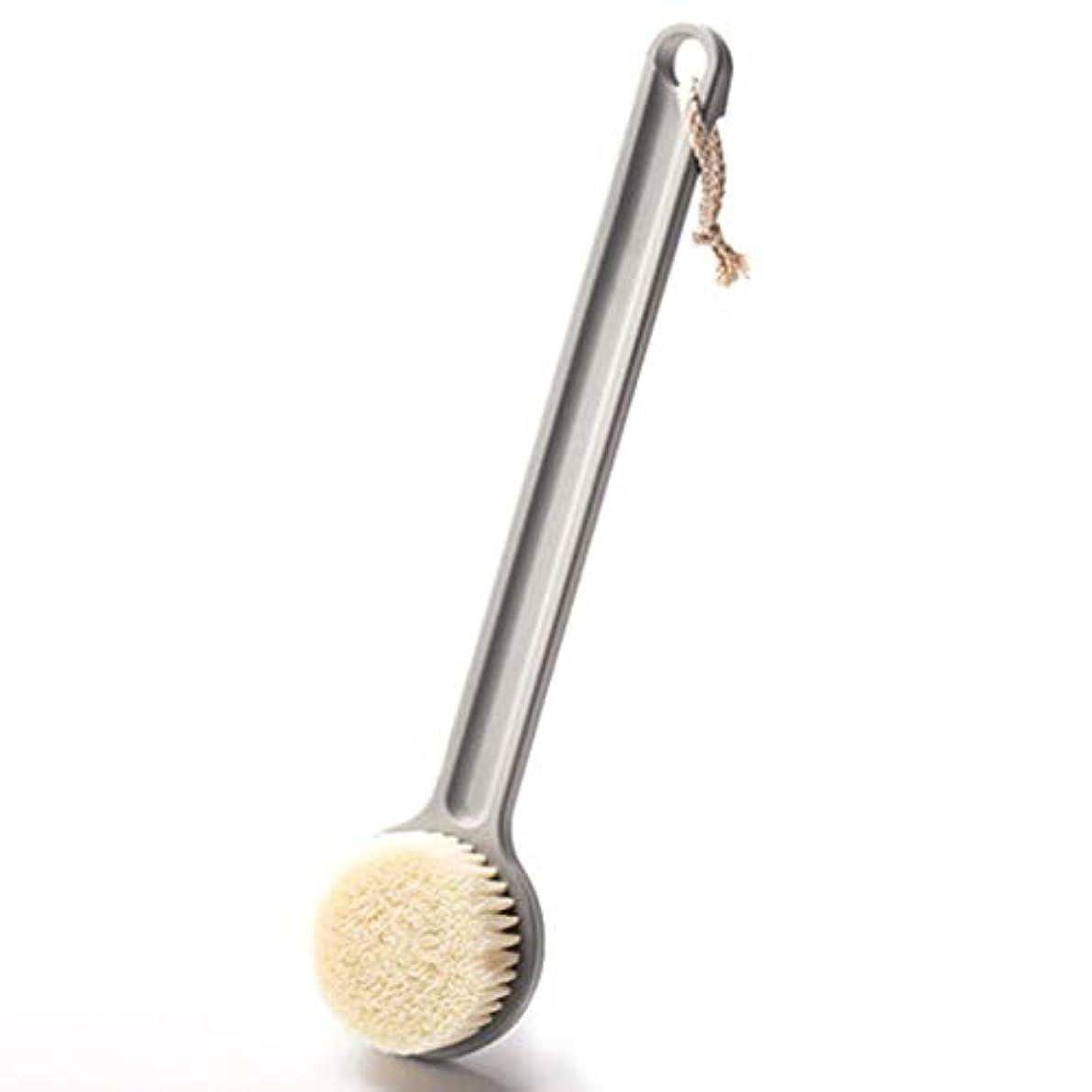 工夫する深遠フィットネスバスブラシバックブラシロングハンドルやわらかい毛髪バスブラシバスブラシ角質除去クリーニングブラシ (Color : Gray)