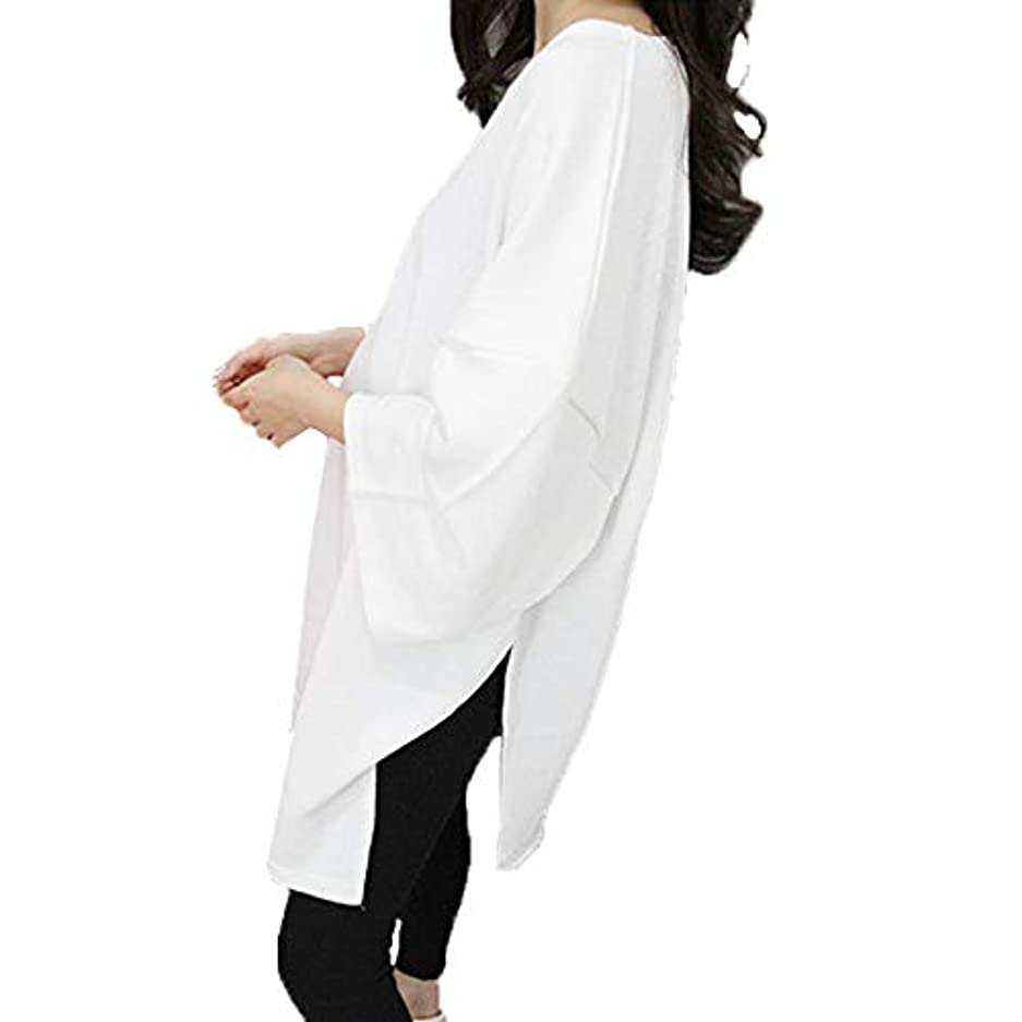 アカデミー簿記係クスコ[ココチエ] ワンピース 白 半袖 ロング 大きいサイズ おおきいサイズ おしゃれ ゆったり 体型カバー プルオーバー Tシャツ ビッグサイズ オーバーサイズ