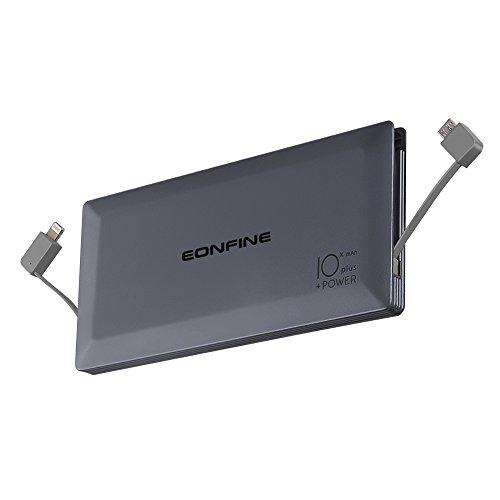 Eonfine-正規品 モバイルバッテリー 10000mAh ケーブル内蔵 薄型 軽量 大容量 ライトニング / microUSBコネクタ付 4台充電可能 2USBポート スマホ急速充電器 iphone ipad Android 各種対応 ブラック