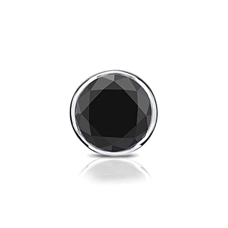 次個人反発18 Kホワイトゴールドbezel-setラウンドブラックダイヤモンドシングルスタッドイヤリング( 1 / 4 – 2 ct、ブラック) screw-back