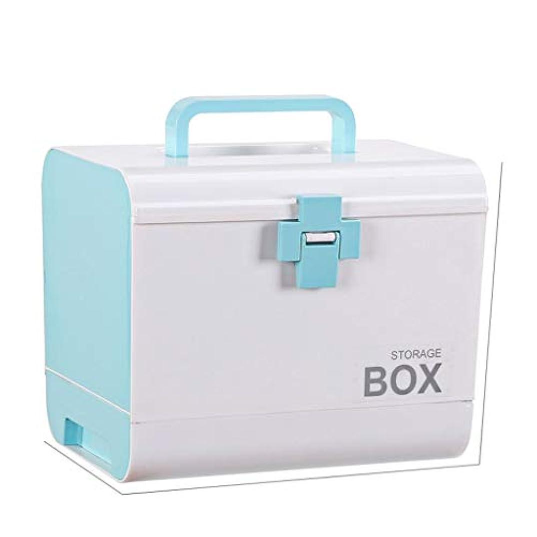 抹消ポップガスYANGBM 薬箱、薬収納ボックスポータブル救急箱収納ボックス家族の薬のキャビネット家庭用薬箱の収納ボックス (Color : Blue)