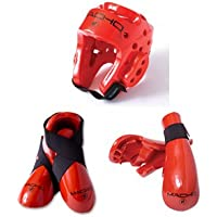 Macho Dyna Sparring Gear Karate TaeKwonDo TKD - Red 5pc Set (Head (Large) - Punch and Kick (Small))