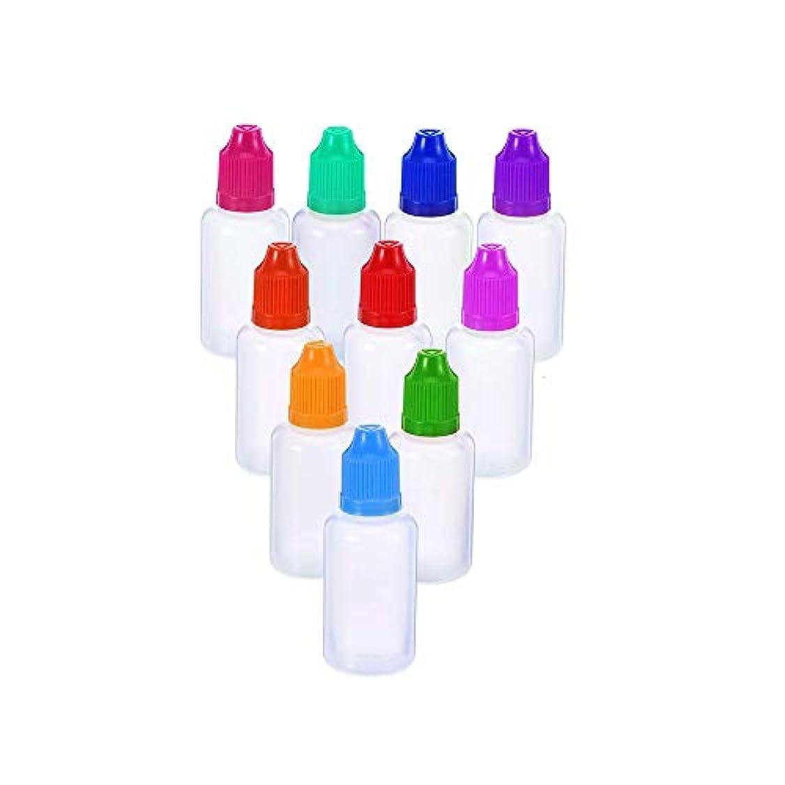 領収書不条理木製PEグルーボトル ドロッパーボトル 点眼 液体 貯蔵用 滴瓶 プラスチック製 10個 (10ml) 半透明 /5色 (色はランダム)