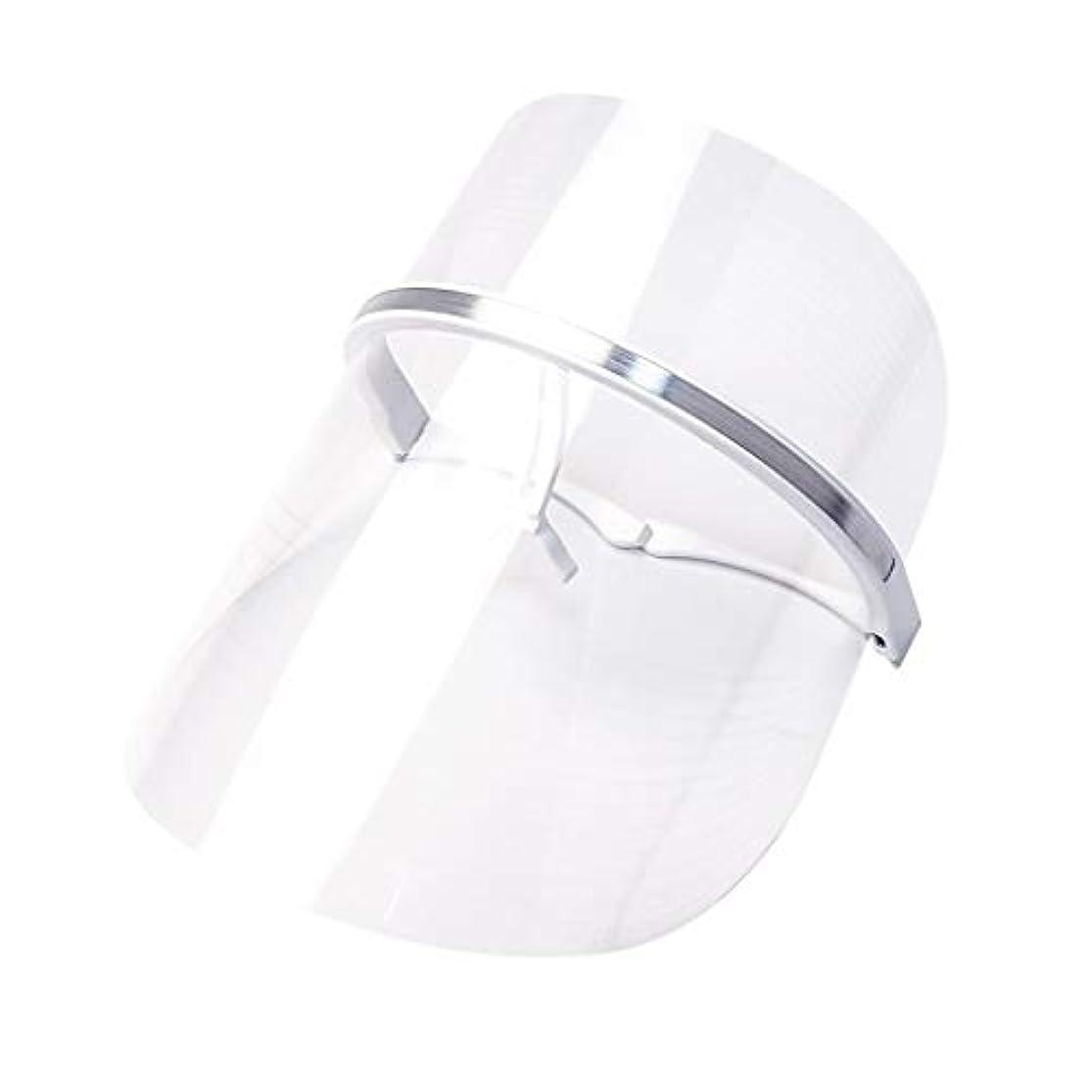 予想する忘れられない宿るライトセラピー?マスク、LEDライトセラピーマスクスキンケアフェイシャルマスクセラピー3色アンチエイジングライトセラピーアクネスキンファーミングディープリペアマスク (Color : Clear)
