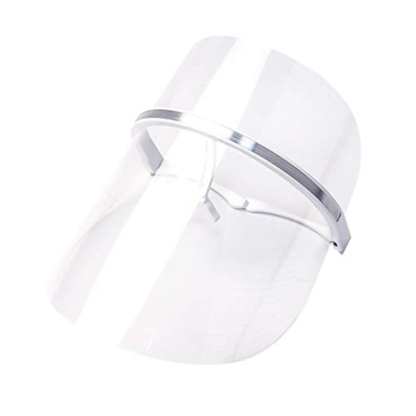 褐色予感危機ライトセラピー?マスク、LEDライトセラピーマスクスキンケアフェイシャルマスクセラピー3色アンチエイジングライトセラピーアクネスキンファーミングディープリペアマスク (Color : Clear)