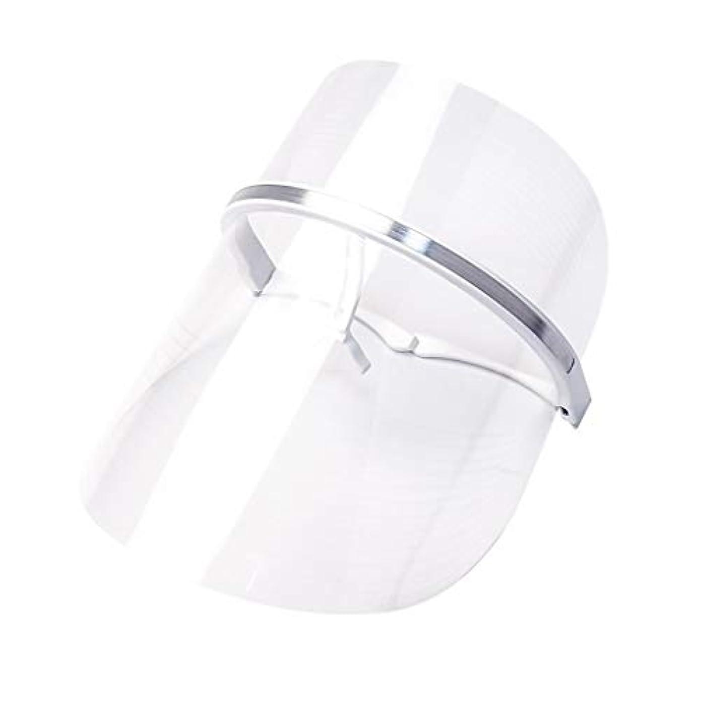 持続的浮浪者彼らのものライトセラピー?マスク、LEDライトセラピーマスクスキンケアフェイシャルマスクセラピー3色アンチエイジングライトセラピーアクネスキンファーミングディープリペアマスク (Color : Clear)