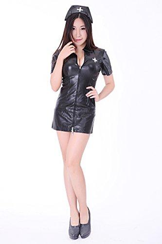 フェイクレザー ナース衣装 & 看護婦服 ( SR33-4H ) (レディースM号, 黒)