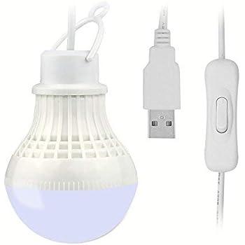 Easi-Cable 電球形 USB LEDライト 昼光色 5W/7W USB端子に接続するだけで使える! スイッチ付き キャンプなどのアウトドアやデスクライト (5W)