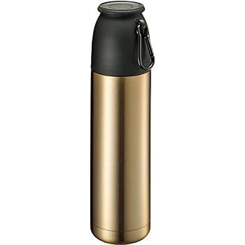 キャンピングサーモボトル 保温保冷水筒 コップ付 マークレススタイル TS-1224-018 (500ml, 金)