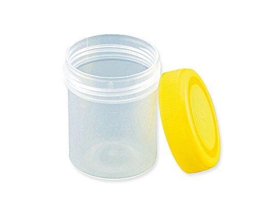アズワン 標本容器 60mL フタ黄 8-2259-03 1セット(200個:100個×2箱)