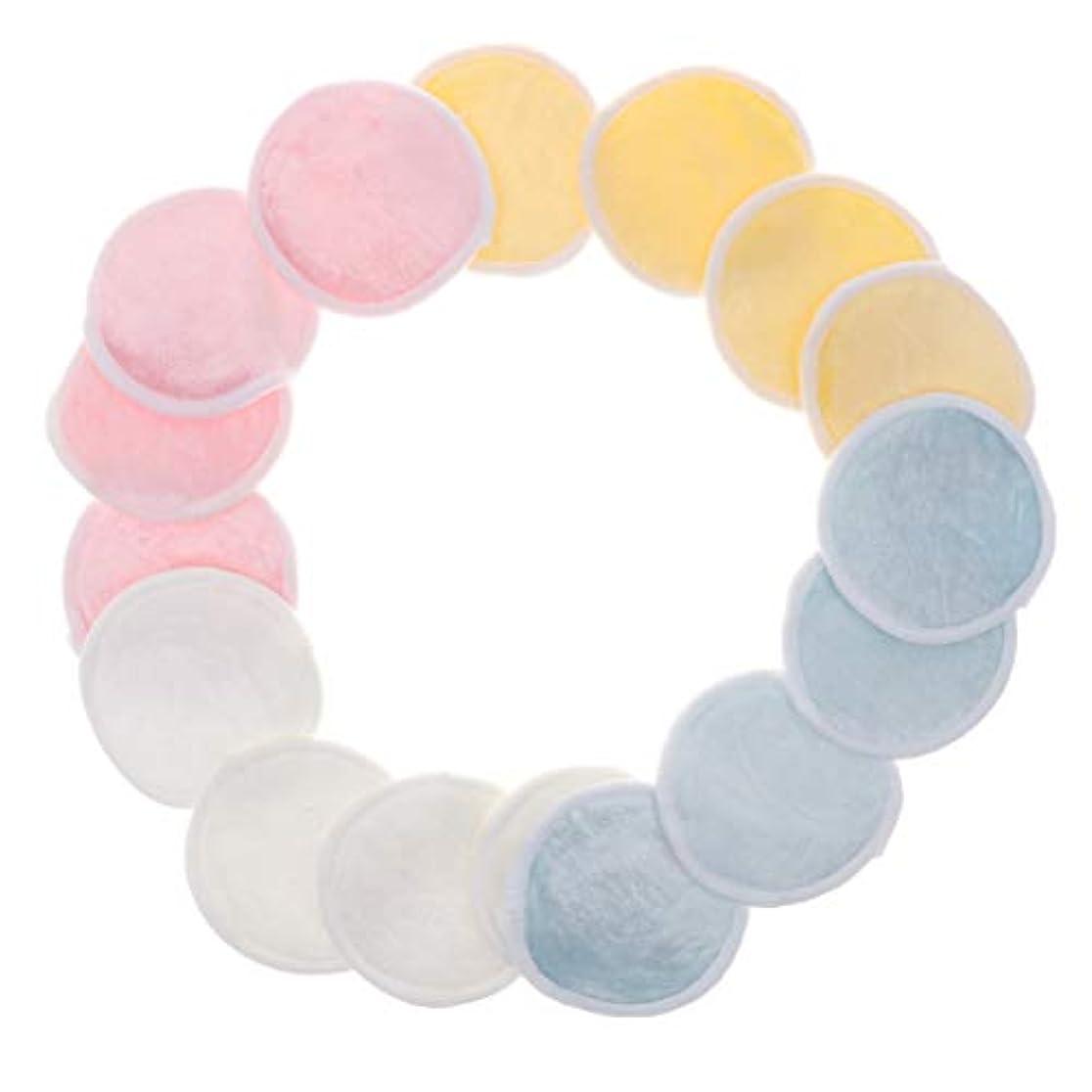 瞑想する海藻ドット化粧落としパッド メイク落としコットン クレンジング 再使用可能 ジッパーメッシュバッグ付 16個入