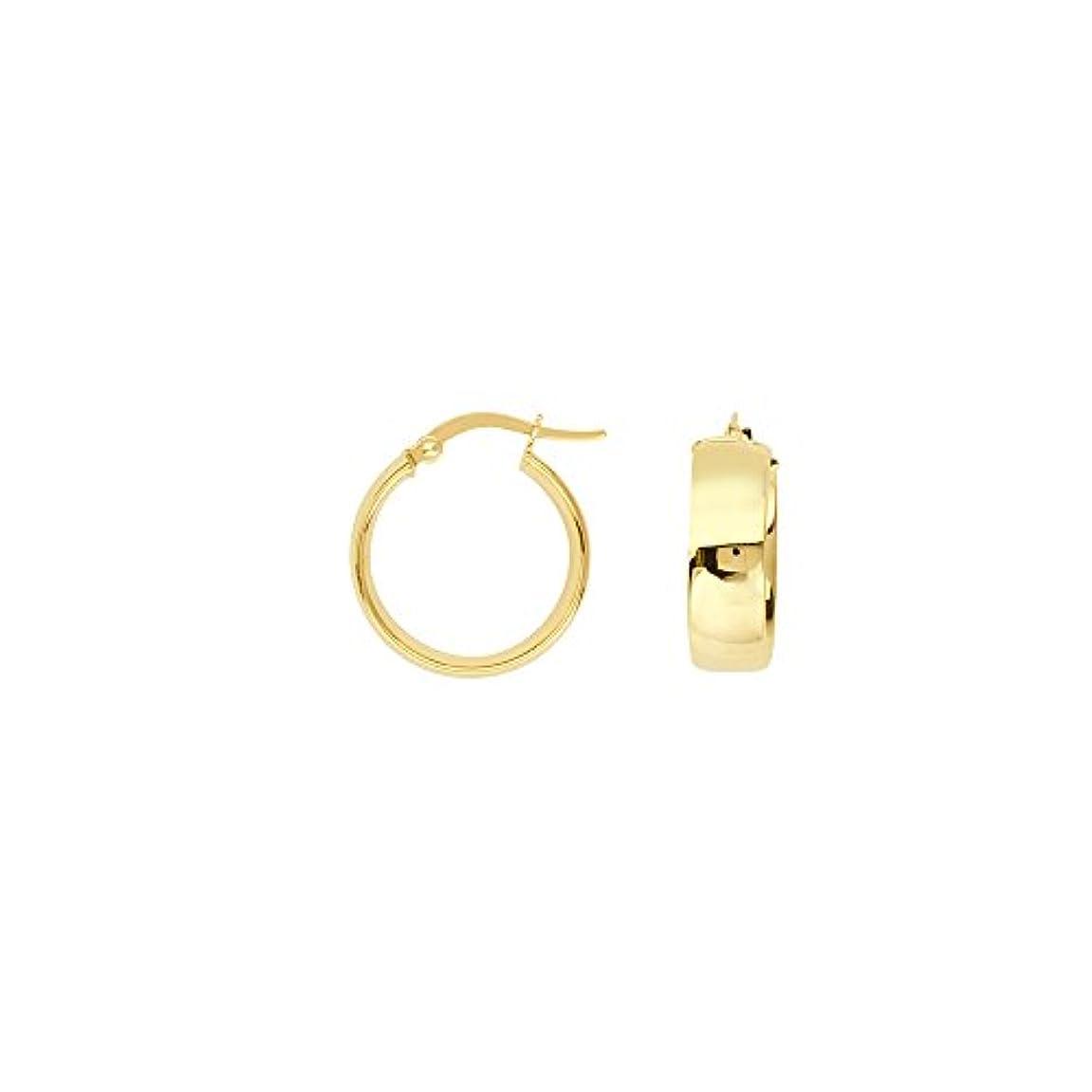 確率騒々しい全体にイヤリング チェスト 14K イエローゴールド 結婚指輪 チューブ ハイポリッシュ ピアス 幅15mm