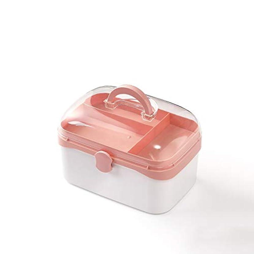 大薬箱ホーム多層医療箱大容量薬収納ボックス多色オプション AMINIY (Color : Pink, Size : 27.4×18.3×17.4cm)